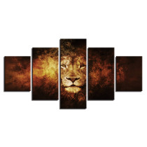 Amosi Art-HD Animal Pictures Home Decoration 5 Panel Lion Painting Wall Art Modular Poster Framework Printed Modern Canvas Living Room