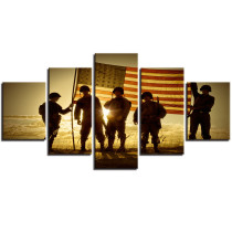 Amosi Art-Modern Home Decor Frame Canvas Pictures Print Poster 5 Pieces Silhouette Of Soldiers With American Flag Painting Wall Art