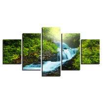 Amosi Art-Framework Modular Pictures 5 Panel Waterfall Canvas Green Tree Painting Poster Wall Art For Living Kids Room Decorative