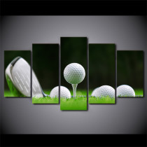 Amosi Art-Poster Modern Home Decor Living Room Or Bedroom Wall Art Canvas Print 5 Panel White Golf Balls Painting Modular Pictures Frame