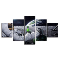 Amosi Art-Canvas Wall Art Pictures Home Decor Framework 5 Pieces Astronaut Paintings Living Room HD Prints Abstract Lunar Landscape Poster