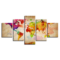 Amosi Art Wall Art 5 Panels Abstract colorful World Map Canvas Prints for wall decoration