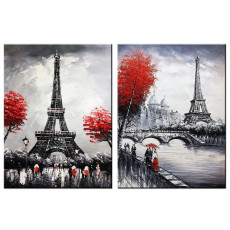 Amosi Art-Wall Art Lovers meet on the side of the Seine, Eiffel Tower in Paris Canvas Printing for home decoration