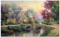 Amosi Art-Sigle piece Wall Art The Manor by the Bridge oil painting for home decoration