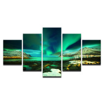 Amosi Art-HD Prints Canvas Modular Pictures Wall Art Framework 5 Pieces Polar Region Aurora Paintings Green Lake Posters Home Decor Room