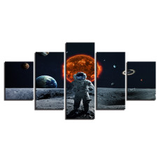 Amosi Art-Home Decoration HD Posters Modern Wall Art Framework Pictures 5 Panel Cosmonaut Landscape Living Room Printed Cuadros Painting