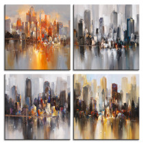 Amosi Art-4 Pcs Abstract Canvas Painting New York Colorful City Brooks Bridge Brooklyn Bridge Landscape Picture for decoration