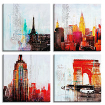 Amosi Art-4 Panels HD Printing Empire State Building, Eiffel.Triomphe Abstract famous city Wall Art