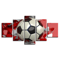 Amosi Art-Wall Decoration Posters Modular Art Home Frame 5 Panel Red Footbal lHD Printed for Painting Living Room Modern