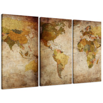 Amosi Art-Canvas Painting Modern World Map Picture Printed on Canvas Giclee Artwork Stretched and Framed Wall Art For Living Room Home Decor Ready to Hang 3 Panels