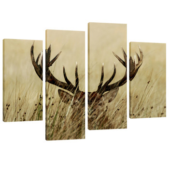 Amosi Art-4 Panels Canvas Wall Art Painting Deer in the Grass Picture Prints Animals Canvas Painting Giclee Artwork Stretched and Framed For Living Room Home Decor