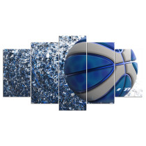 Amosi Art-5 Pieces Blue Light Sports Basketball For Living Room Modern HD Printed Painting