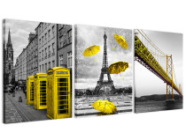 Amosi Art - 3 Panels black and white London city-Eiffel Tower-San Francisco Bridge canvas prints For wall art