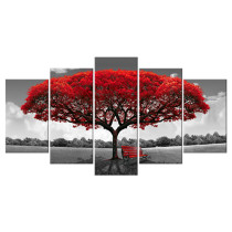 Amosi Art-5 Panels Canvas Wall Art Red Tree Picture Prints on Canvas Landscape Painting Modern Giclee Artwork Stretched and Framed Ready to Hang Canvas Art for Home Decoration
