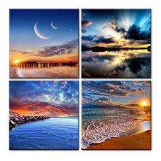 Amosi Art-4 Pcs Seascape Canvas Print,Giclee Artwork, Stretched and Framed, Paintings on Canvas Modern Lanscape Canvas Wall Art for Home and Office Decorations