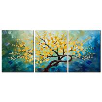 Amosi Art-Canvas Wall Art Hand-painted Oil painting of Rich Tree for Living Room Home Decor wth stretch frame(20x28inchx3pcs)