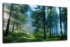 Amosi Art-Green Forest Canvas Wall Art Living Room Wall Decor Long Nature Painting Large Canvas Artwor