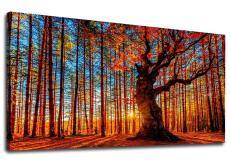 Amosi Art-Canvas Wall Art Red Trees Forest Sunset Panoramic Fall Scenery Painting - Long Canvas Artwork Contemporary Nature Picture for Home Office Wall...