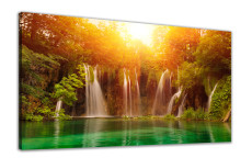 Amosi Art-canvas wall art Green forest waterfall canvas printing for home decor