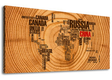 Amosi Art-Abstract Canvas Wall Art Golden World Map of Retro wood block background Giclee Artwork for home-living room  wall decor