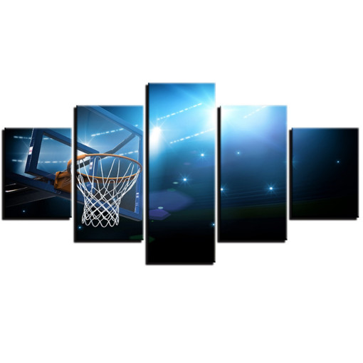 Amosi Art-HD printed 5 piece canvas art Basketball Basket Goal painting wall pictures for living room