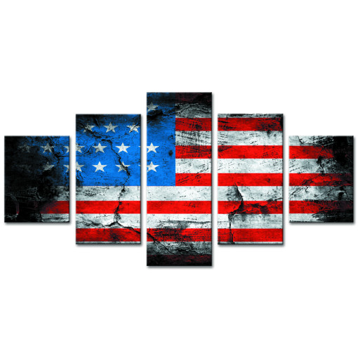 Amosi Art-Retro American flag canvas print art home decor wall art pictures for living room 5 panel large poster HD printed painting Framed Ready to hang