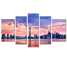 Amosi Art-5 Panels Canvas Wall Art Modern Painting Toronto City View Pictures Printed On Canvas Landscape Painting Stretched and Framed Wall Art for Home Living Room Decor Ready to Hang