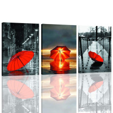 Amosi Art-Canvas Wall Art Black and White Street view Red Umbrella and Wooden Bridge Picture Canvas Printings Modern Artwork for Home Living Decoration with Stretched and Framed 3 Panels
