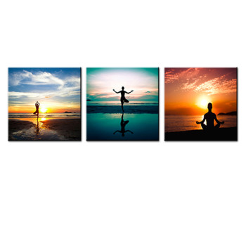 Amosi Art-3P Seaside Painting Do Excerise Yoga On The Beach Picture Printed on Canvas Wall Art For Home Decoration With Stretched and Framed