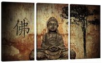 Amosi Art-3 Panels Canvas Wall Art Buddha Picture Canvas Prints Giclee Artwork for Home Living Room Decoration
