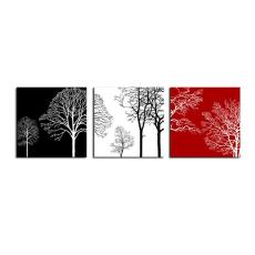 Amosi Art-3 Panels Wall Art Black White and Red Tree Canvas Painting Printed on Canvas Stretched and Framed Giclee Artwork For Wall Decor