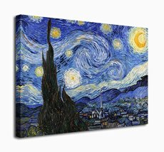 Amosi Art Starry Night Abstract Giclee Canvas Prints Wall Art by Van Gogh Famous Oil Paintings Modern Gallery Wrapped Classic Sky Star Pictures Artwork for Living Room Home Office Decorations