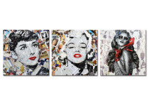 Canvas prints wall art Creative portraits of Monroe and Hepburn for wall decor