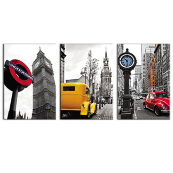 3 Pieces Wall Art Black and White Building Big Ben,Beetle car  London Street View Picture Canvas Prints for Home Decoration