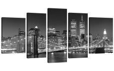 Amosi Art-Canvas Printings Wall Art Black and White New York City Picture Artwork for Living Room Home Decor Stretched and Framed Ready to Hang 5Panels