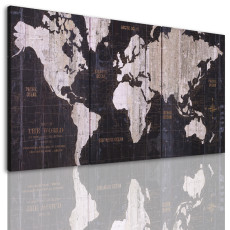 Amosi Art-3 panels  wall art of retro abstract world map canvas prints painiting for home decor