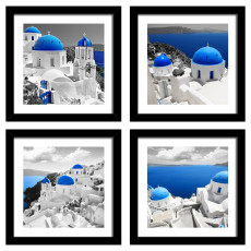 4 Panels Blue Aegean scenery Canvas Wall Art Painting with Black Frame