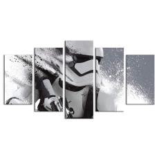 Amosi Art 5 Panels Canvas Art Print Painting Star Wars Stormtrooper Movie Cartoon Wall Picture Robot Shooter Home Decor