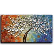 Amosi Art-Hand painting Floral Contemporary Art Oil Painting On Canvas Modern Abstract Tree Paintings Home Decor