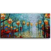 Amosi Art-Abstract Hand Painted Artwork Painting on Canvas Evening Walk Landscape Oil Paintings Wall Art Framed Decorative Pictures Living Room Bedroom Office Ready to Hang