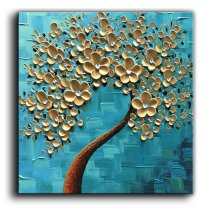 Amosi Art-Oil Painting On Canvas Abstract Tree Paintings Stretch Framed Ready to Hang for Living Room