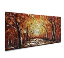 Amosi Art-Abstract Forest Contemporary Artworks 3D Hand Painted Texture Tree Painting on Canvas Framed Wall Art Living Room Bedroom Office Hallway Home Decorating