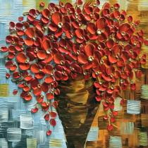 Amosi Art-Hand Painted Red Orange Beauty in Bloom Flowers Painting Canvas Modern Contemporary Art  for Living Room Home Decor
