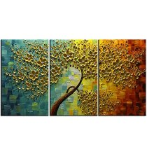 Amosi Art-3 Panels Oil Painting on Canvas Flower Trees Paintings Modern Home Decor Wall Art Painting Picture