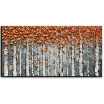 Amosi Art-Hand Painted Contemporary Art Oil Paintings Birch Tree Modern Artwork Wall Art for Living Room Home Decorative