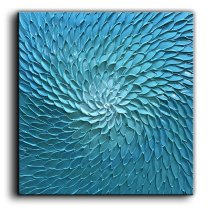 Amosi Art-Blue Oil Hand Paintings Modern Abstract Artwork Flowers Pictures on Canvas Wall Art Ready to Hang for Living Room Bedroom Home Decorations