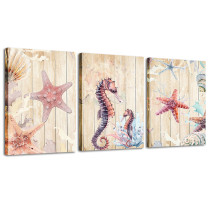 Amosi Art Canvas Wall Art Seahorse Starfish Shell Paintings Sea World Animal Picture Framed Art for Children Room Kindergarten