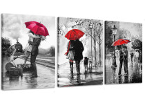 Canvas Wall Art Black and White Red Umbrella Loves in Street Printed Canvas Framed Wall art for Wall Decor