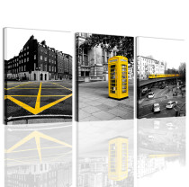 Canvas Wall Art Yellow Telephone Booth Black and White City Street View Wall Painting for Bedroom Living Room Decor