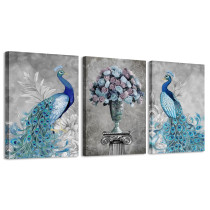 Amosi Art Peacock Wall Art for Bedroom Blue Peacock Animal Picture Frame Canvas Art Print Painting Modern Home Decor
